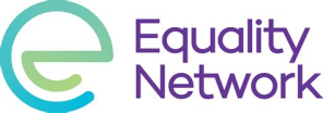 a large e in blue that fades to green and the words equality network in purple text