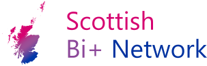 outline of scotland in the bi pride colours and the words Scottish Bi+ Network